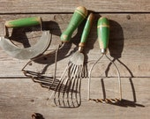 Instant Collection Shabby Chic Country Style Green Handle White Stripe Kitchen Implements Potato Mashers, Whisk Beater, Pastry Cutter