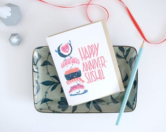 Sushi Anniversary Painted Greeting Card - Food Pun