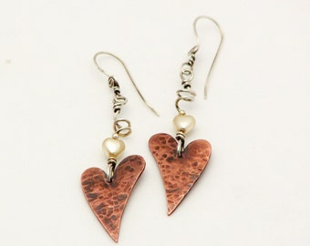 Long Dangle Copper Heart Earrings Metal Work Jewelry Hammered Copper Sterling Silver Mixed Metal Earrings Valentines Day