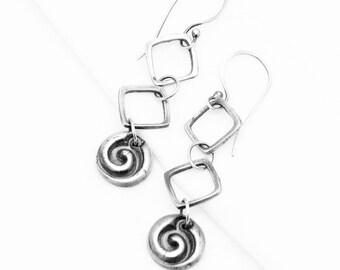 Spiral Zen Earrings Sterling Silver Dangle Square Hippie Bohemian Earrings  Everyday Minamalist Jewelry Long Silver Metal Work Gifts For Her