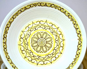 Midcentury Sierra Berry Bowls Max Schonfeld Design Gladding Mcbean Ironstone Ovenproof Dishwasher Safe Yellow Brown Scroll Pattern: Set of 6