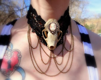 Victorian Pink Cameo Skull Necklace With Gold Chains~Real Animal Skull