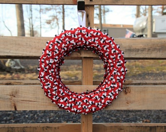 Red Valentines Day Front Door Wreath, Heart Decor, Valentines Day Gift for Her, Tiny Hearts, Red Front Door, Black and White Stripes