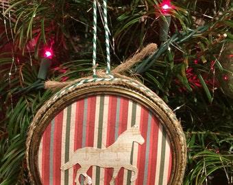 Custom Mason Jar Ring Christmas Ornament - Horse Themed