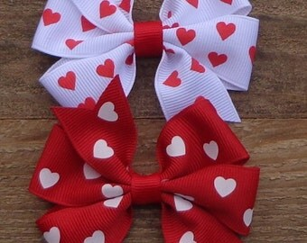 Pick ONE Valentine's Day Hair Bow~Bows for Valentines~Valentine's Day Bow~Red Hair Bow~White Hair Bow~Boutique Hair Bow~Pinwheel Hair Bow