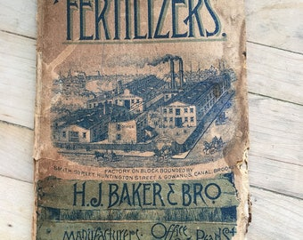 Antique advertising ledger calender for Fertilizers great graphics fair condition