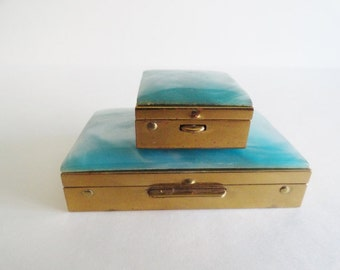 Vintage Brass Metal Pill Case with Vials Lucite Medicine Box Vintage Metal Compact Travel Cases Vintage Pill Container Pill Box Case Bridal