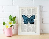 Blue Butterfly Dictionary Book Print - Altered art on upcycled book pages BPBB033