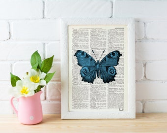 Summer Sale Blue Butterfly Dictionary Book Print - Altered art on upcycled book pages BFL033