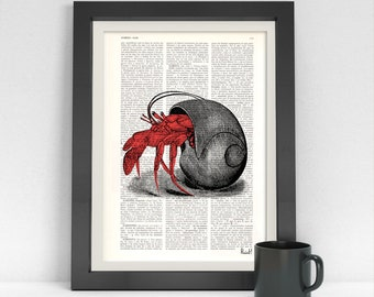 Summer Sale Hermit Crab in its Shell Dictionary page ocean life art wall art seashore house decor print sea life Hermit crab SEA044