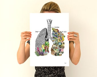 Human Lungs  with precious stones , Human Anatomy wall art print prints, wall art gifts for doctor,  wall decor art  SKA120WA3