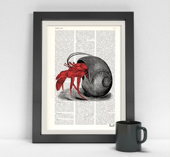 Hermit Crab in its Shell Dictionary page ocean life art wall art seashore house decor print sea life Hermit crab SEA044