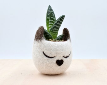 Succulent planter / Siamese cat mini planter /  Cat head planter / indoor planter / Small succulent pot / cat lover gift / gift for her