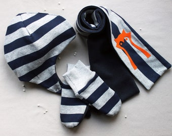 Baby boy winter set. Hat, scarf and mittens. Size 12-18 mo. Made in Italy. Ready to ship.