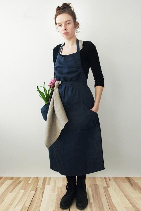 Natural linen apron Charcoal or custom color linen aprons