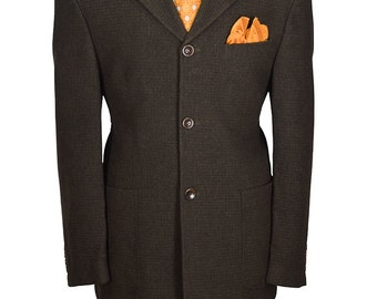 44R Brown Three Button Textured Nicely Tailored Gentelmans Blazer
