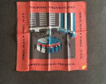Vintage Tammis Keefe Grand Central Terminal Linen Handkerchief NOS