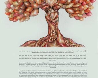 Jewish Ketubah Tree, Custom ketubah, Watercolor Ketubah, Interfaith Ketubah, Modern Ketubah, katubahs katubah  ketubahs, wedding vows
