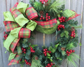 Christmas Door Wreath, Holiday Decoration, Realistic Christmas Wreath with Plaid Bow, Tartan Bow, Designer Christmas Decor, Horns Handmade