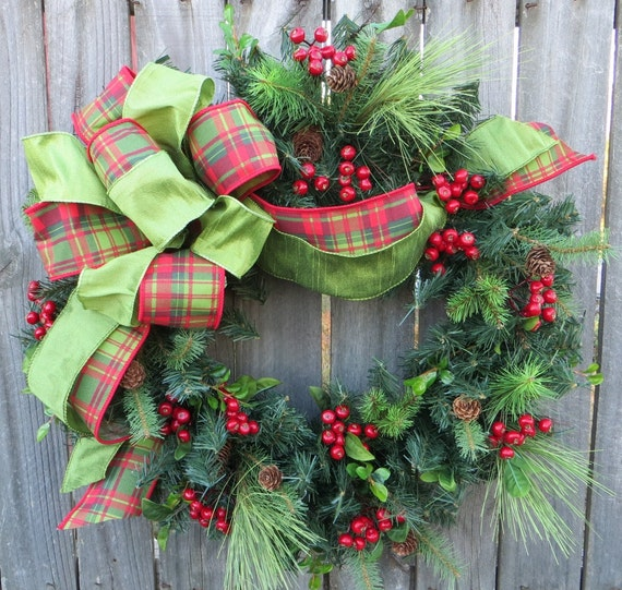 Christmas Door Wreath, Holiday Decoration, Realistic Christmas Wreath with Plaid Bow, Tartan Bow, Designer Christmas Decor, Horns Handmade