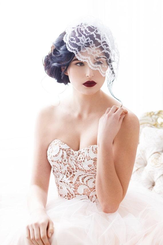 Lace Birdcage Veil, Birdcage Veil, Birdcage Bridal Veil, Birdcage Veil Lace, Illusion Lace Veil, Lace Blusher, White, Ivory, Black MEGGIE
