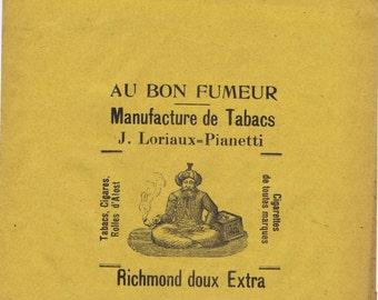 Vintage Belgian Tobacco Advertising Packaging Paper Sack  Exotic Smoking Tobacciana Graphic Brand Design Typography Ephemera