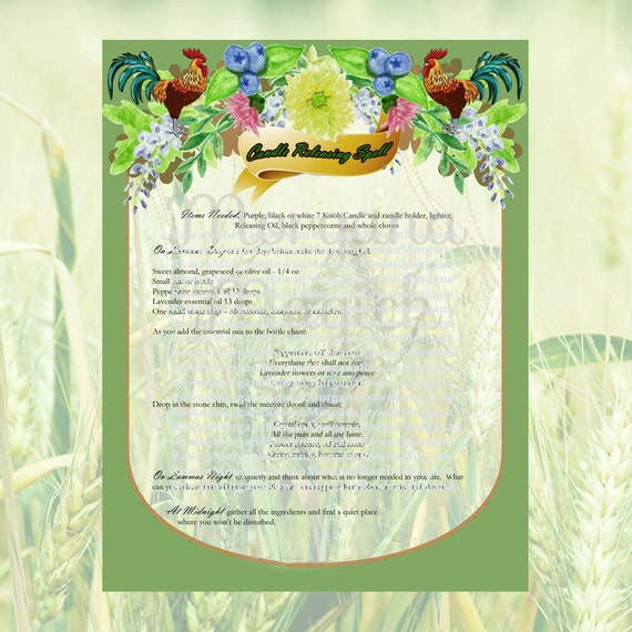 LAMMAS MAGICK SPELL Lughnasadh 3 Pages,Digital Download, Book of Shadows Pages, Grimoire, Spell, Wicca, Magick, Pagan Ritual, White Magick
