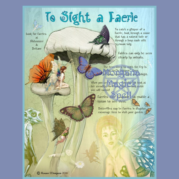 SIGHT a FAERIE, Digital Download,  Inspiration Spell, Faerie,   Book of Shadows Page, Grimoire, Scrapbook, Spells