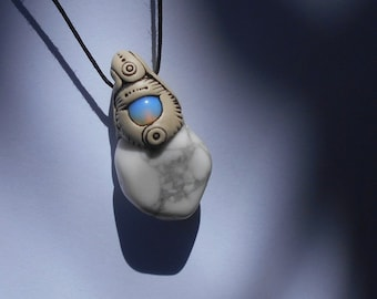 Magnesite pendant with faux 'opalite' / white blue / DYNAMIC CRYSTAL / magnesite pendant / jewelry / pendant / khayanite / feathery tribe