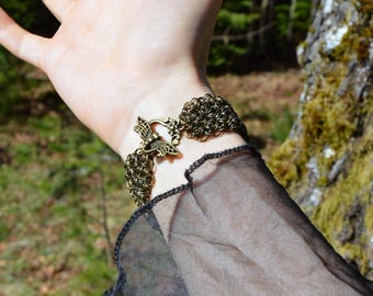 Chainmail bracelet, medieval fantasy jewelry, elven cuff bracelet, bronze chainmail jewelry, chainmaille bracelet elf armour cosplay jewelry