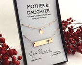 Mom Christmas Gift. Mother Daughter Bar Necklace Set. Rose Gold Bar Necklaces Mom Daughter Jewelry Mother of the Bride Gift Gift for Her