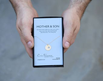 Mother of the Groom Gift Mom Necklace Mom from Son Mom Necklace Mom Birthday Gift for Her Gift for Wife New Mom Gift Gold Star Necklace