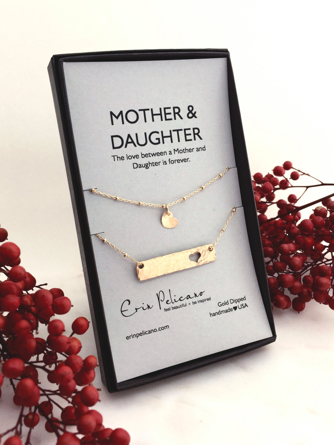 Mom Christmas Gift. Mother Daughter Bar Necklace by erinpelicano