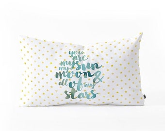 You are my sun my moon and all of my stars oblong throw pillow, twinkle gold little stars kid's bedroom, baby nursery decor baby shower gift
