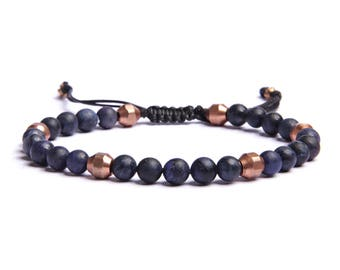 Men's blue beaded bracelet - We Are All Smith handmade Dumortierite and Copper beads adjustable bracelet for Men. Knot clasp. Father's Day.