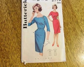 "1950s Saucy Slim Tailored WIGGLE Dress w/ Elegant Asymmetrical Seamlines - Size 14 (Bust 34"") - VINTAGE Sewing Pattern Butterick 2174"