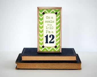 SEATTLE SEAHAWKS Wood Sign, On a scale from 1-10 I'm a 12, for Loud & Proud Fans, Shelf Sitter, Conversation Piece