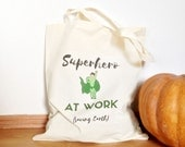 Canvas Tote Bag, Quote Tote Bag, Shopping Bag, Cotton Market Bag, Green Tote Bag, Eco Tote Bag, Reusable Shopping Bag, Superhero Bag for Him