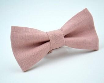 Mens Bowtie in Dusty Pink Linen #1, Mauve Bow Tie, Dusty Pink Bow Tie, Dusty Rose Bow Tie, Groomsmen Bow Tie, Wedding Bow Tie