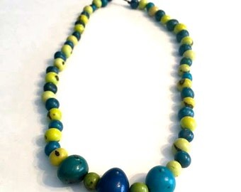 Acai Seed & Bombona Seed Necklace / Statement Necklace/ Boho Jewelry, Boho chic, Folk