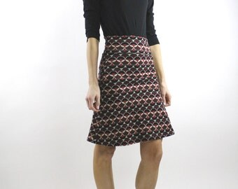 A-line Mini skirt, Mod skirt, Brown skirt, high waisted skirt a-line skirt a line skirt Pull on Skirt Printed skirt jersey skirt Rose Temple