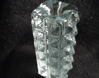 Heavy Blenko Vintage Glass Candle Holder.   Don Shepherd, 1980.  Modernist, Danish Modern.  Mid century modern.