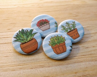 Succulent Fabric Buttons - Cactus Pattern / Plant Badge / Cute Pin / Succulents Illustration / Plant Lover Accessories