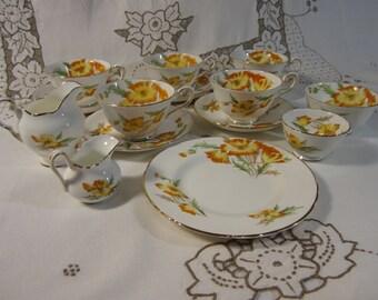 "15 Piece Tea Set-Royal Chelsea English-English Bone China ""Lake Louise Poppy"""
