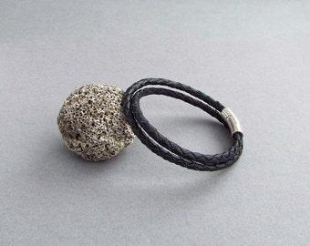 Leather Bracelet for Men, Black Bracelet, Braided Bracelet, Boyfriend Gift, Husband Gift, Men's Leather Jewelry
