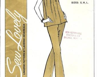 Vintage Pajamas Pattern Ladies Top Bottoms No Side Seam Laverne Devereaux 1970s Sew Lovely P746 S M L All Sizes Uncut