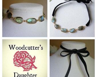 Sparkling Labradorite Convertible Necklace Headpiece