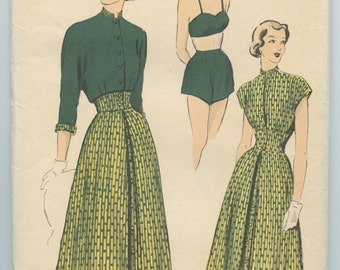 1940's Advance 5119 Vintage Sewing Pattern Misses' Mix & Match Separates Bra Top Shorts Blouse Reversible Jacket Button Front Skirt Bust 34