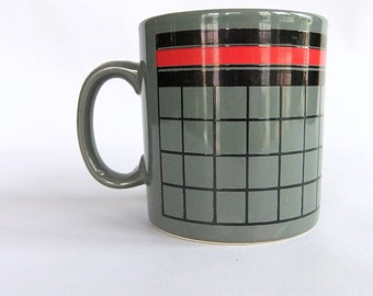 Vintage Techie, Computer Geek, 90's Nerd Mug - Grey Red Black, Stripes and Grid, made in England, FPC, Pre Memphis style, Mint Condition