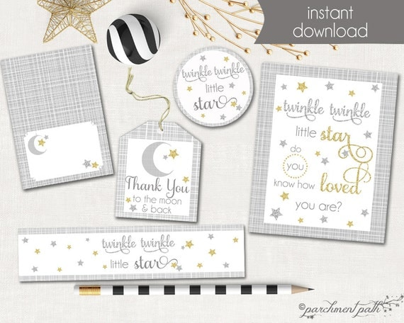 Twinkle Twinkle Little Star Printable Party Set Favor Tags